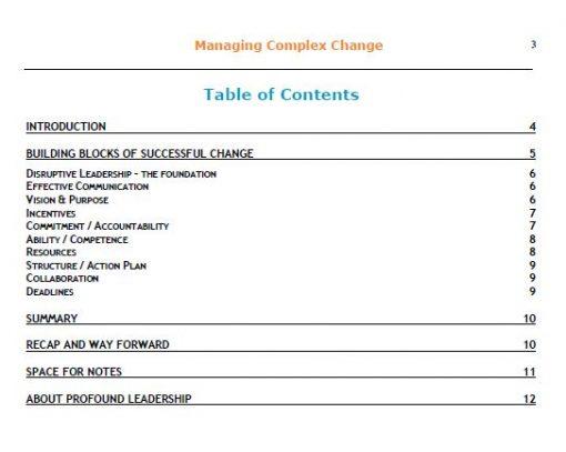 Managing Complex Change - Disruptive Leadership - Professional Development - Leadership Skills - Table of Content