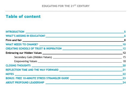 Educating for the 21st Century TOC- Downloadable Resource - Education - Teaching - Classroom Management - Leadership Skills