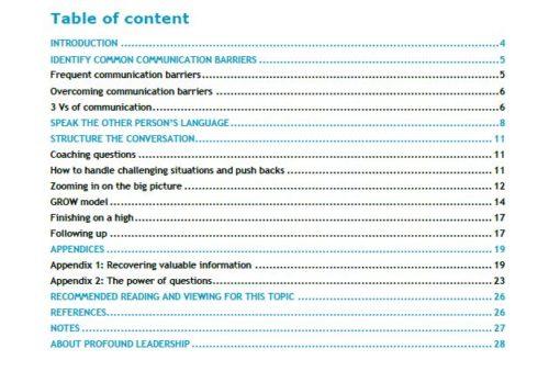 Effective Communication - Table of Content - Leadership skills - Professional Development - Leadership Development - PDF Download - Ebook - Resources